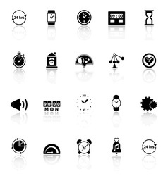Time related icons with reflect on white vector image