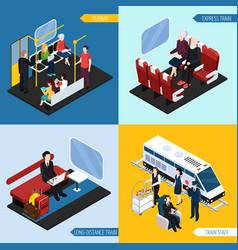 train interior passengers isometric concept vector image
