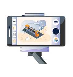 Tripod with smartphone and picture on topic vector