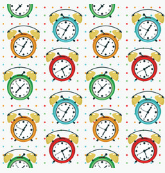 twin bell alarm clock seamless pattern vector image