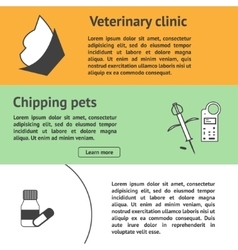 Veterinary banners set with vet clinic pet care vector image