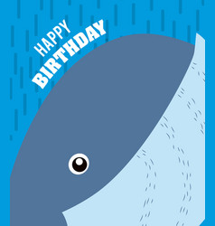 Whale happy birthday card vector