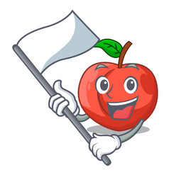 With flag fruit of nectarine isolated on mascot vector
