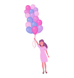 woman flying with colorful air balloons happy vector image