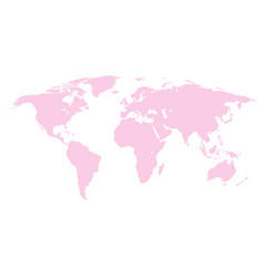 World map pink colored on a white background vector