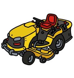 Yellow garden mower vector