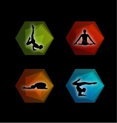 Yoga pilates set on geometric shapes vector image