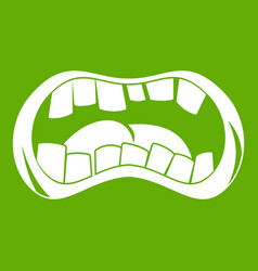 Zombie mouth icon green vector
