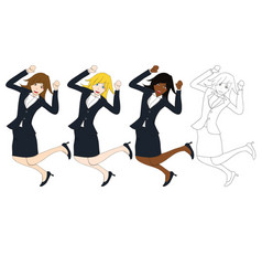 business woman jumping vector image