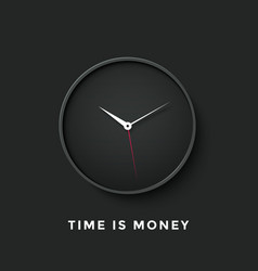Icon of black clock face with shadow and message vector image