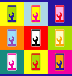 phone icon with settings pop-art style vector image