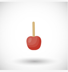 toffee apple or red candy apple flat icon vector image