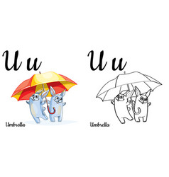 umbrella alphabet letter u coloring page vector image