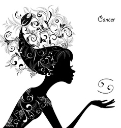 Zodiac sign cancer fashion girl vector image vector image