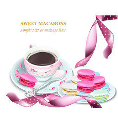 Chocolate and macaroons on a plate colorful vector