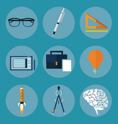 creative multimedia ideas icons vector image