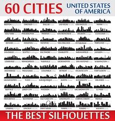 Incredible skyline set 60 city silhouettes of USA vector image