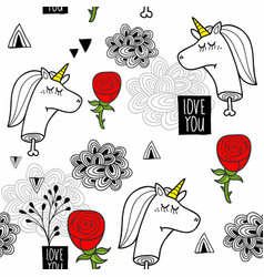 romantic seamless pattern with black and white vector image vector image
