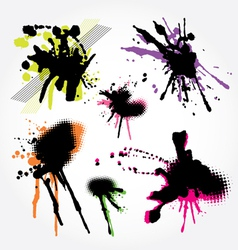set of grunge splashes colorful vector image vector image