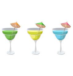 Summer fruits set fresh drink retro style vector