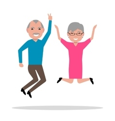 cartoon jumping from happiness elderly vector image
