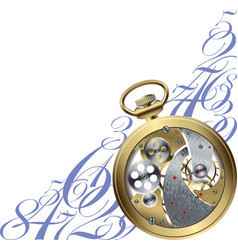 Golden watch inside vector image vector image
