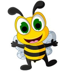 happy little bee cartoon vector image vector image