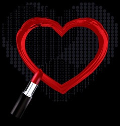 Heart trace and red lipstick vector