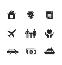 insurance icons with hands vector image vector image