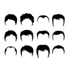Men silhouette shapes of haircuts vector image