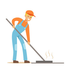 road worker levelling asphalt with rake part of vector image
