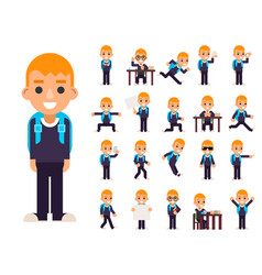 school boy student pupil in different poses and vector image