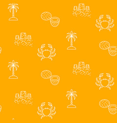 summer vacation line icon yellow seamless vector image vector image