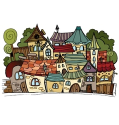 Cartoon fairy tale drawing town vector image