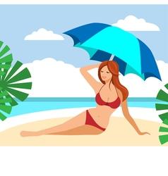 Hot brown hair girl on a beach under umbrella vector image