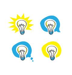lightbulb scribble representing idea in 4 versions vector image vector image