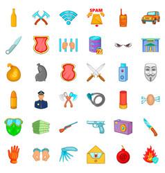 malware icons set cartoon style vector image vector image