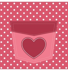 pink pocket with heart vector image vector image