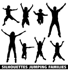 Silhouette happy jumping family vector