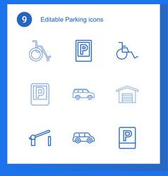 9 parking icons vector
