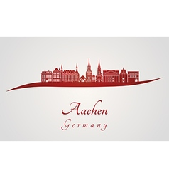 Aachen skyline in red vector image
