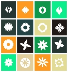 Abstract flower icon logo set flat vector image