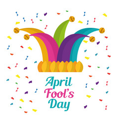 april fools day cap with bells jester festive vector image