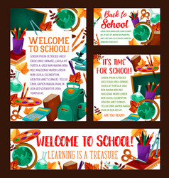 Back to school education banner poster vector