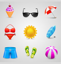 beach set icons vector image
