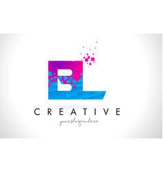 Bl b l letter logo with shattered broken blue vector