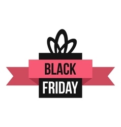Black Friday gift box icon flat style vector
