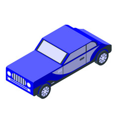 Blue old car icon isometric style vector