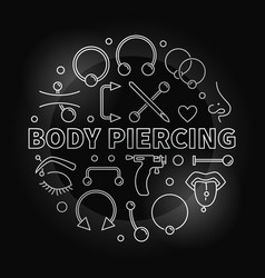 body piercing round silver in vector image