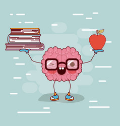 brain cartoon with glasses with books and apple in vector image